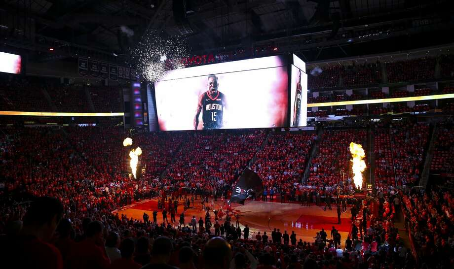 The Rockets are introduced before the first half of game 2 of the NBA playoffs at the Toyota Center in Houston, Wednesday, April 17, 2019. Photo: Elizabeth Conley/Staff Photographer