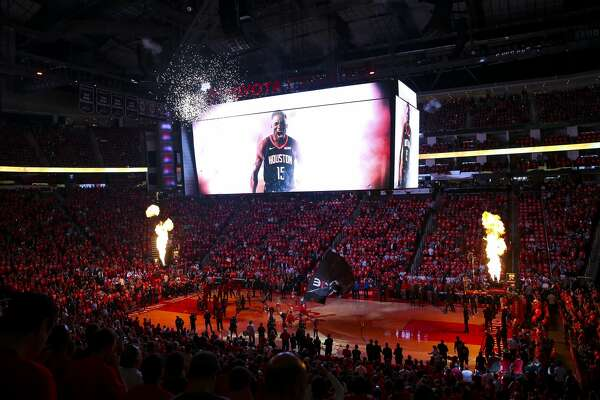 The Rockets are introduced before the first half of game 2 of the NBA playoffs at the Toyota Center in Houston, Wednesday, April 17, 2019.