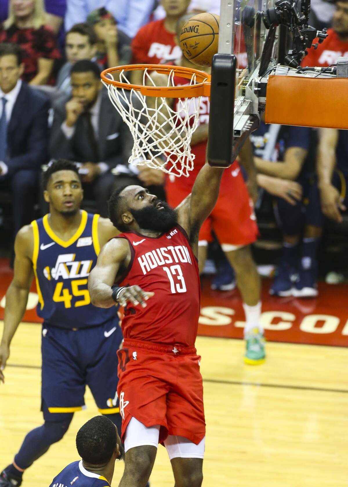 Houston Rockets guard James Harden (13) scores during the first half of game 2 of the NBA playoffs at the Toyota Center in Houston, Wednesday, April 17, 2019.