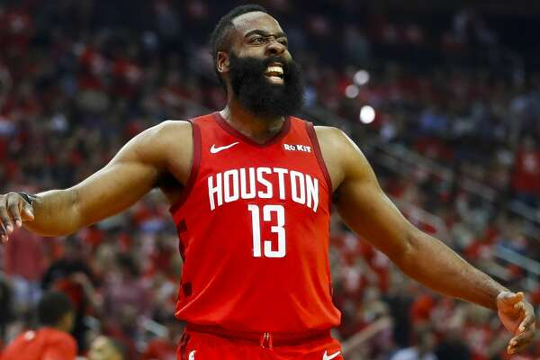 Houston Rockets guard James Harden (13) celebrates a run of Rockets points during the first half of game 2 during the NBA playoffs at the Toyota Center in Houston, Wednesday, April 17, 2019.