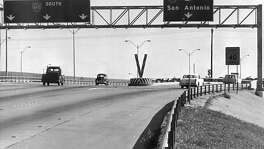 Sept. 20, 1968: Barrels will be placed at the lane dividers of this freeway interchange in hopes of reducing the number of fatal accidents. Barrels were also going up at the Loop 610, Southwest Freeway interchange. Here, we see the Loop 610-Katy Freeway interchange.