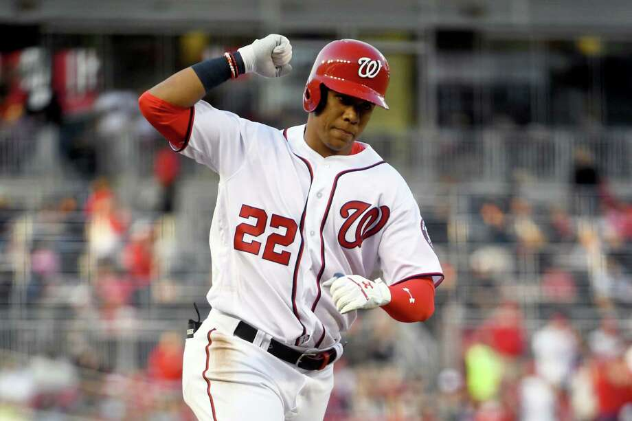 Nationals left fielder Juan Soto rounds the bases after smacking a two-run home run in the first inning Wednesday at Nationals Park against the Giants. Photo: Washington Post Photo By Katherine Frey / The Washington Post