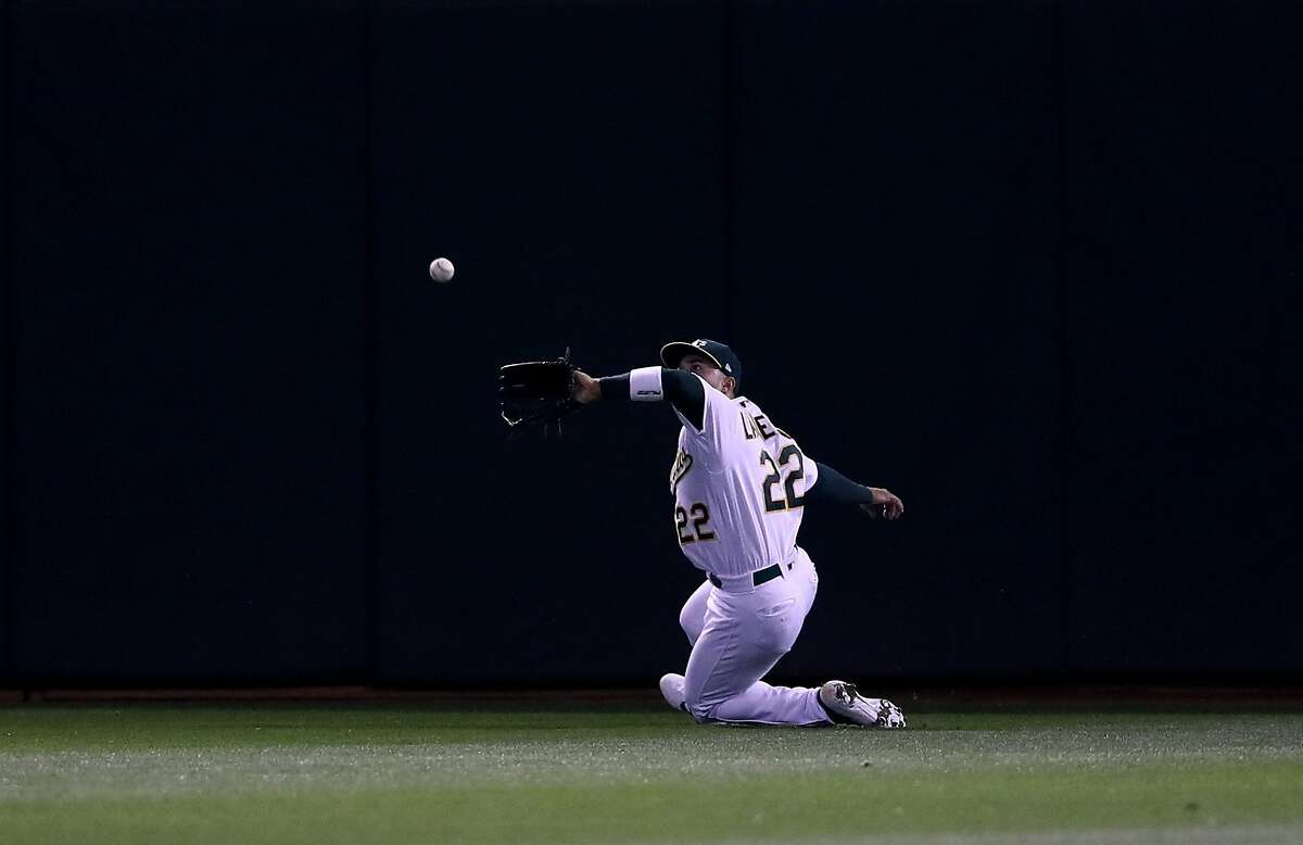 OAKLAND, CALIFORNIA - APRIL 17: Ramon Laureano #22 of the Oakland Athletics catches a ball hit by Alex Bregman #2 of the Houston Astros in the eighth inning at Oakland-Alameda County Coliseum on April 17, 2019 in Oakland, California. (Photo by Ezra Shaw/Getty Images)