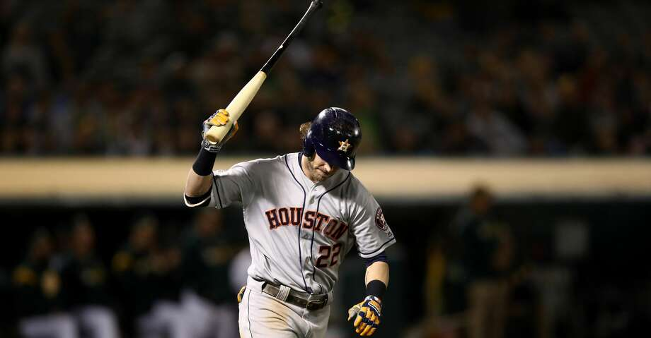 OAKLAND, CALIFORNIA - APRIL 17:   Josh Reddick #22 of the Houston Astros reacts after he popped out in the ninth inning against the Oakland Athletics at Oakland-Alameda County Coliseum on April 17, 2019 in Oakland, California. (Photo by Ezra Shaw/Getty Images) Photo: Ezra Shaw/Getty Images