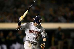 OAKLAND, CALIFORNIA - APRIL 17: Josh Reddick #22 of the Houston Astros reacts after he popped out in the ninth inning against the Oakland Athletics at Oakland-Alameda County Coliseum on April 17, 2019 in Oakland, California. (Photo by Ezra Shaw/Getty Images)