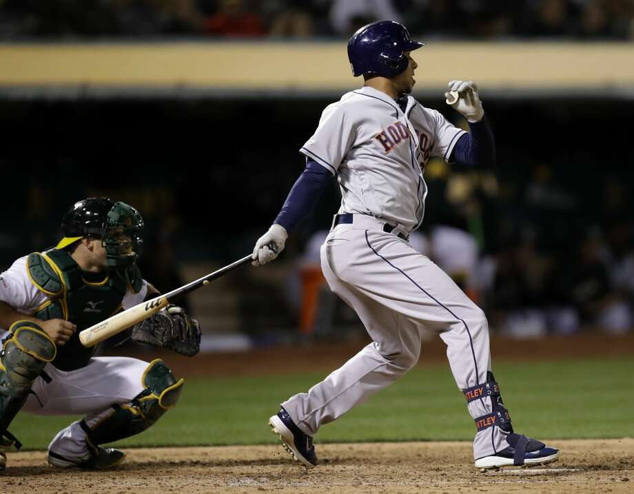 Houston Astros' Michael Brantley watches his RBI single against the Oakland Athletics during the sixth inning of a baseball game Wednesday, April 17, 2019, in Oakland, Calif. (AP Photo/Ben Margot) Photo: Ben Margot/Associated Press