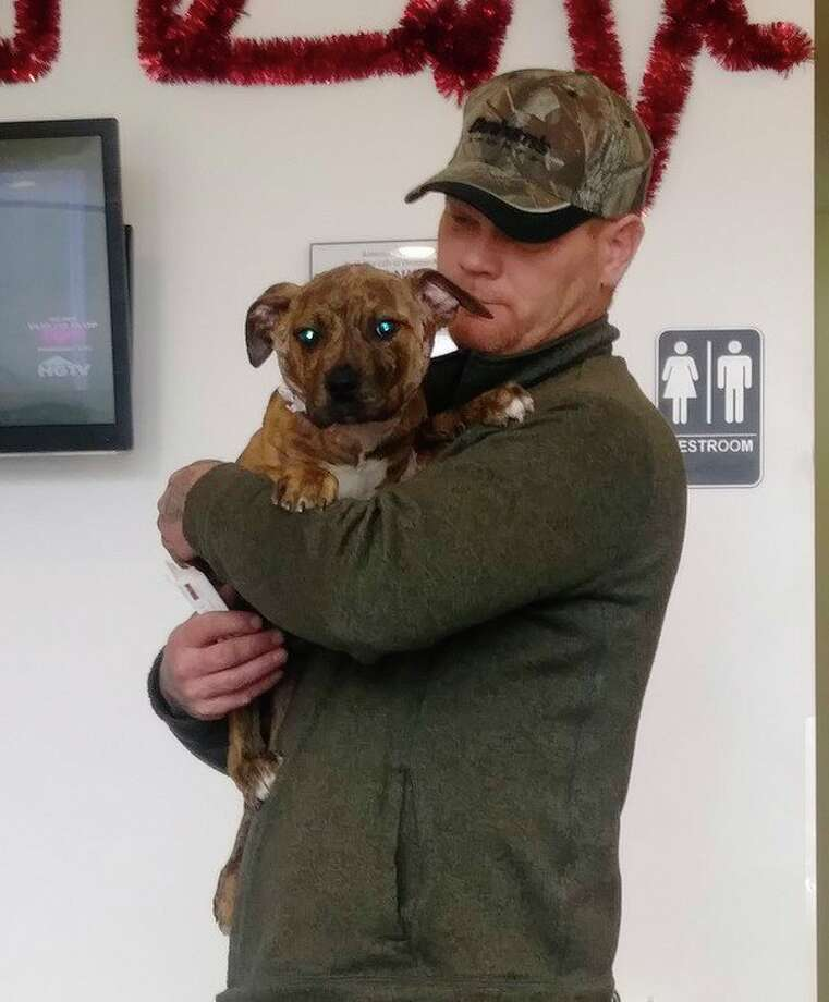 Darell Mead holds Rocky, a recovering pitbull puppy, at a vet clinic in Ann Arbor on April 17, 2019. (Photo provided)