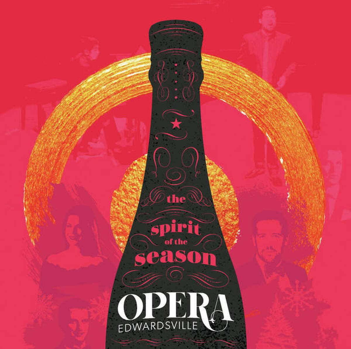 """What better way to christen Opera Edwardsville's maiden voyage than popping open the Champagne? Opera Edwardsville's 2018 commemorative launch poster - designed by Edwardsville design firm Jim Harper Creative - features a striking design of a champagne bottle as a focal piece. Posters are a celebrated fixture of the operatic tradition - with many iconic designs throughout history from top opera houses. This design was particularly fitting at Opera Edwardsville's 2018 December Launch Party & Champagne Reception, where its soloists surprised attendees with a performance of the famous """"Champagne Trio"""" from Strauss' Die Fledermaus, for which the main chorus of """"a toast"""" received cheers and raised glasses from guests. Without making any promises, Opera Edwardsville founder and Artistic Director Chase Hopkins said this toast seems like a tradition in the making."""