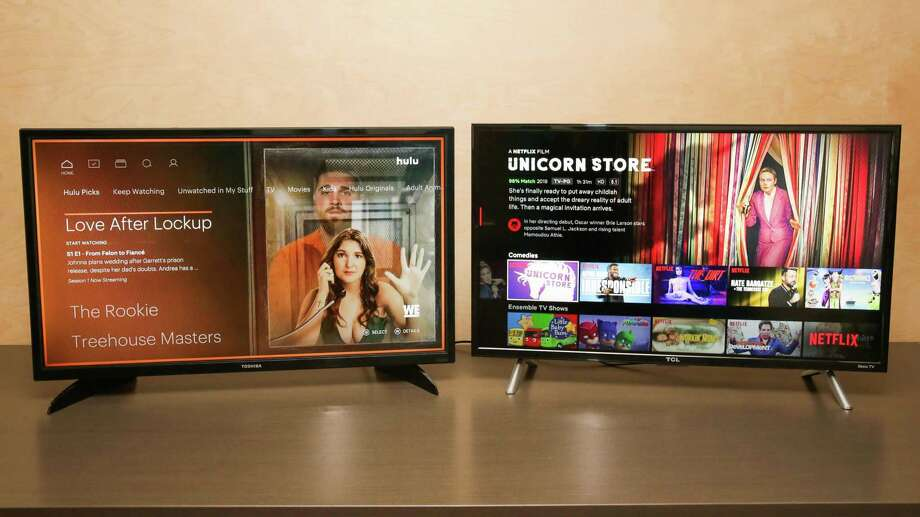 The user interfaces of Hulu (left) and Netflix (right). Photo: Sarah Tew/CNET