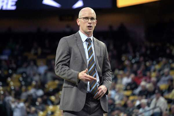 UConn coach Dan Hurley reacts to a play during the second half of a game against UCF Jan. 31, 2019, in Orlando, Fla. UCF won 73-67.