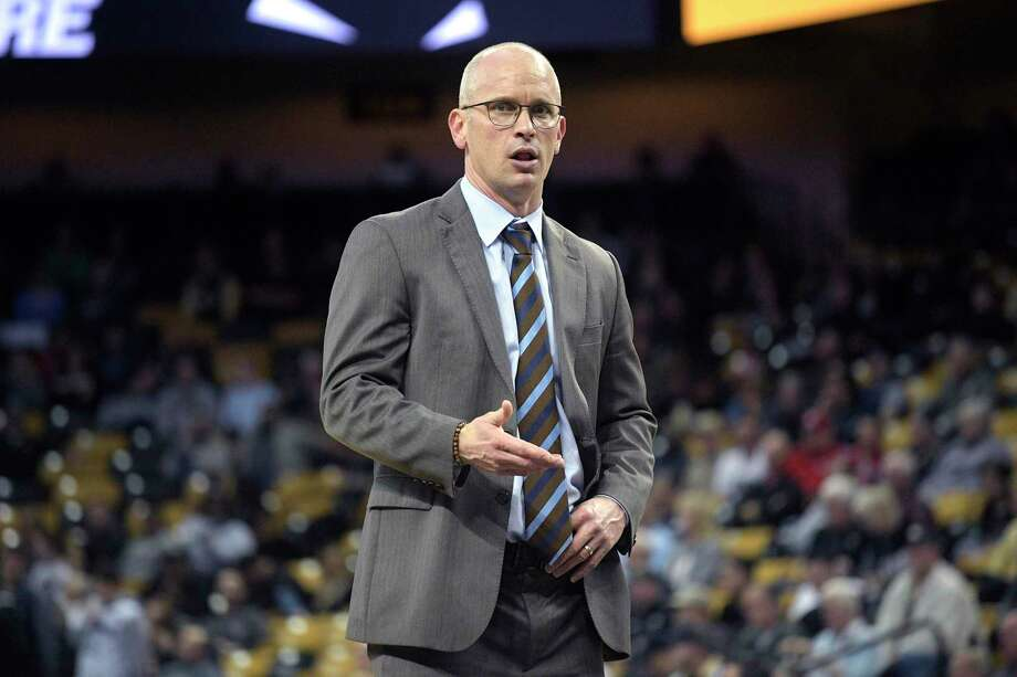 Coach Dan Hurley has established a strong, family-like atmosphere over his first year at UConn. Photo: Phelan M. Ebenhack / Associated Press / Copyright 2019 The Associated Press. All rights reserved
