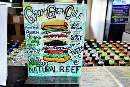 The Groovy Green Chili Burger is a specialty of locally owned Daddio's in Beaumont, Texas. The restaurant concentrates on burgers, fries and shakes.