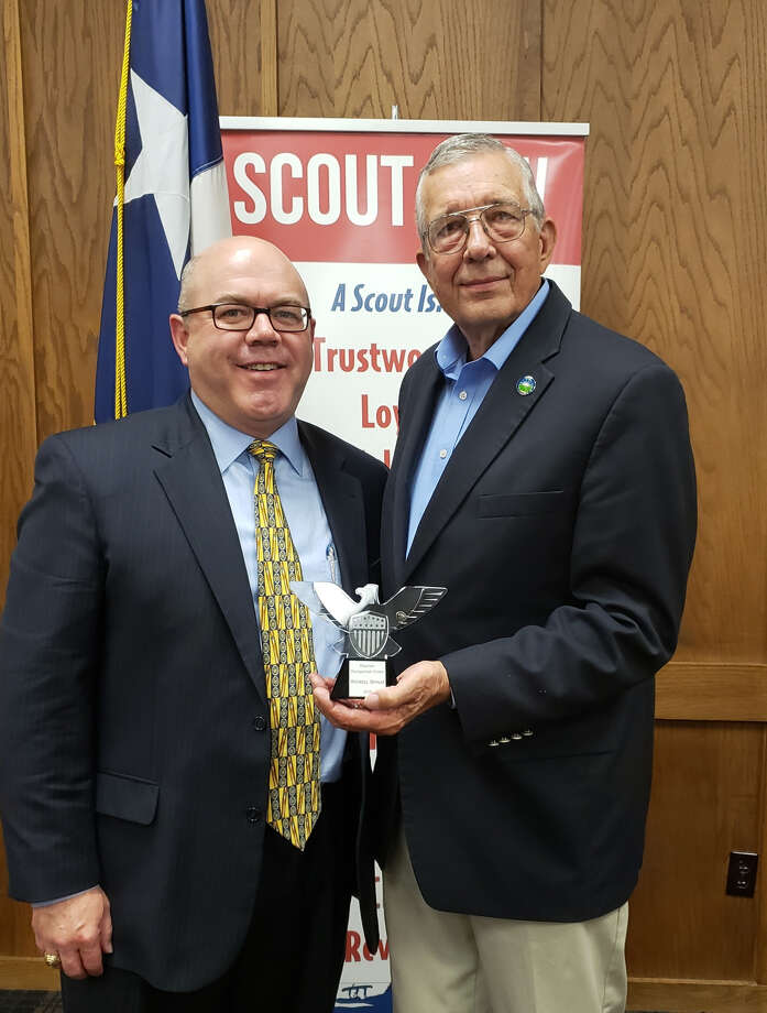 The Haynes District of the South Plains Council of the Boy Scouts honored Mayor Wendell Dunlap as the 2019 Distinguished Citizen for his support of scouting programs in Plainview. The award was presented by Matt Wade, President of the South Plains Council. Photo: Charles Starnes/Courtesy Photo
