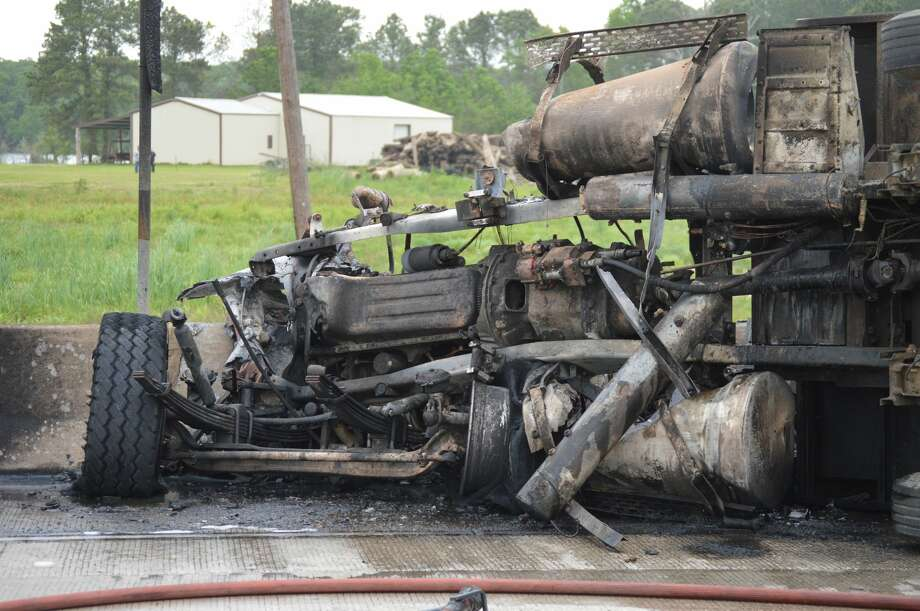 A 58-year-old Houston man was pronounced dead after his truck was struck by a dump truck causing a fiery crash Wednesday. Photo: Photo By Eric Williams