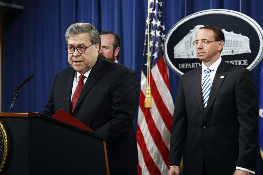 Attorney General William Barr speaks alongside Deputy Attorney General Rod Rosenstein, right, and Deputy Attorney General Ed O'Callaghan, rear left, about the release of a redacted version of special counsel Robert Mueller's report during a news conference, Thursday, April 18, 2019, at the Department of Justice in Washington. (AP Photo/Patrick Semansky) Photo: Patrick Semansky, Associated Press