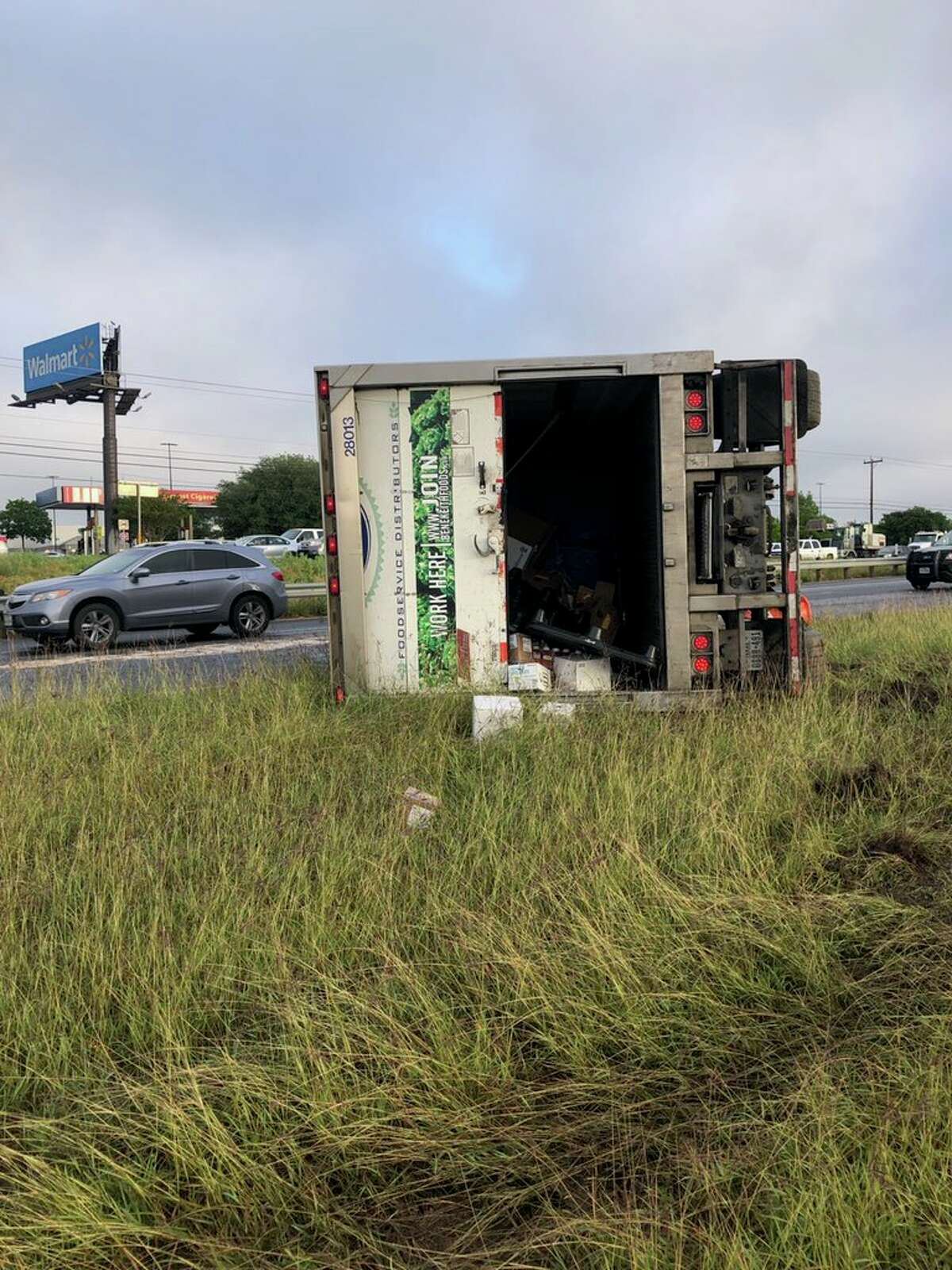 An overturned 18-wheeler is snarling traffic on Loop 1604 southbound lanes near Culebra Road.