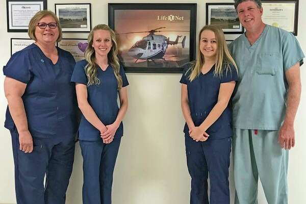 Pictured is the team that was on staff at Hills & Dales the day of this achievement: registered nurses Laurie Rayl and Rebecca Sweeney; ER tech Emily Gilliam; and Dr. David Komosara, ER physician. (Submitted Photo)