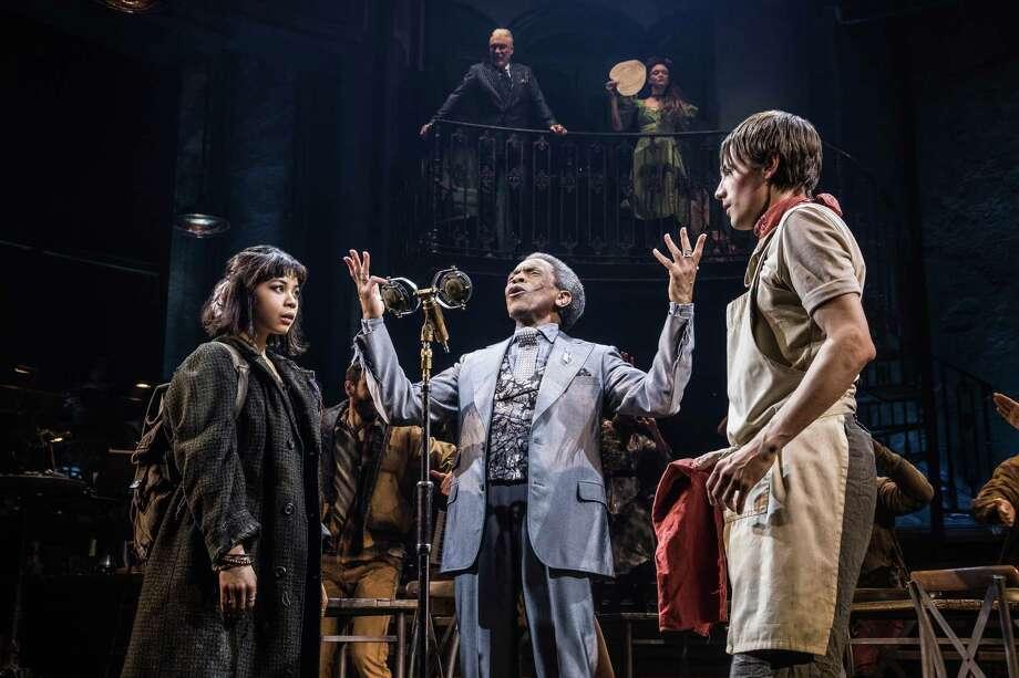 "Eva Noblezada, André De Shields and Reeve Carney in ""Hadestown"" on Broadway. Photo: Matthew Murphy / Matthew Murphy"