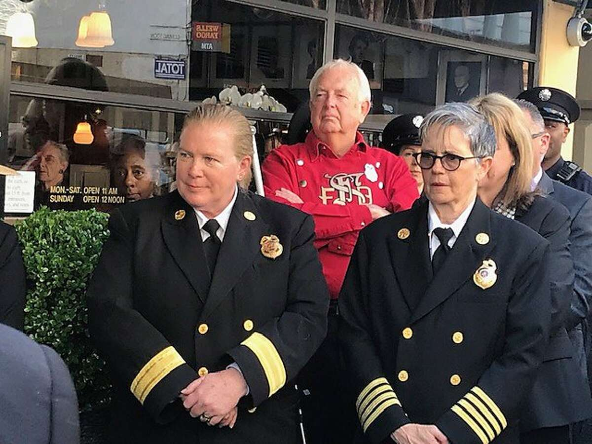 Fire Chief Joanne Hayes-White and incoming Chief Jeanine Nicholson, at John's Grill