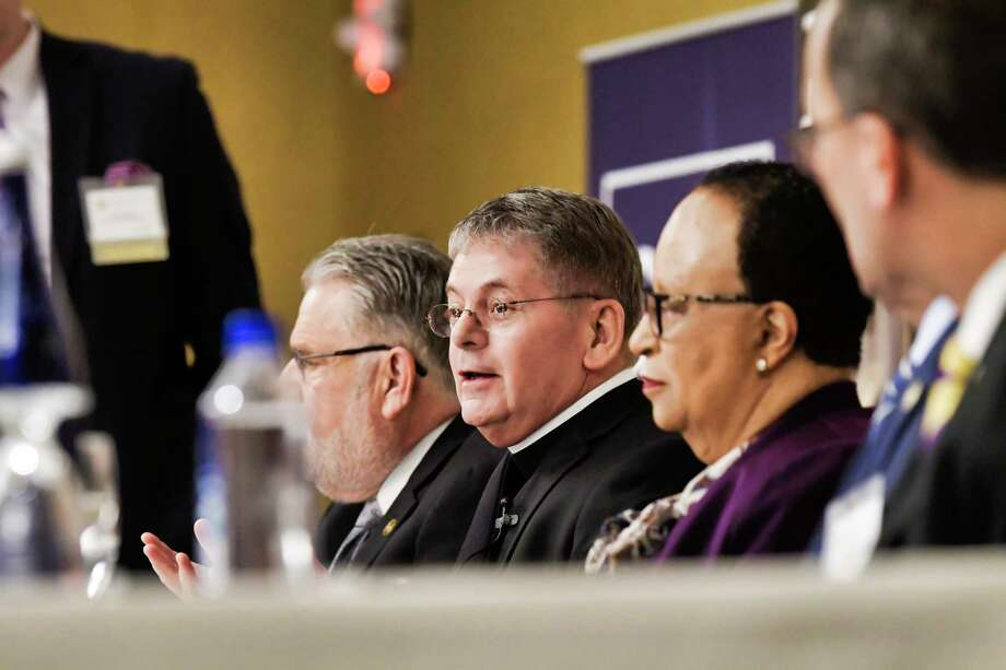 Br. F. Edward Coughlin, president Siena College, along with other area college presidents, takes part in a panel discussion to talk about  issues colleges are facing such as immigration and rising tuition, on Thursday, April 18, 2019, in Troy, N.Y.  (Paul Buckowski/Times Union) Photo: Paul Buckowski, Albany Times Union / (Paul Buckowski/Times Union)