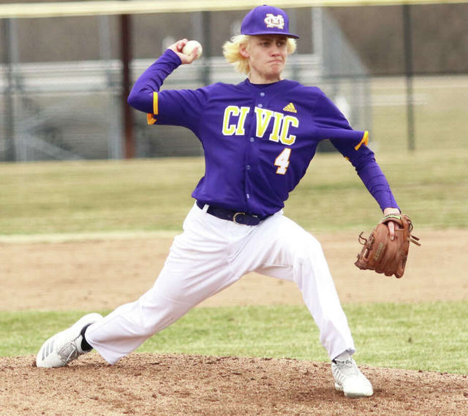 CM's Tyler Hansberger, shown pitching at the Bethalto Sports Complex earlier this season, was back at home Wednesday and got the win in relief in the Eagles' MVC victory over Highland. Photo: Greg Shashack / The Telegraph