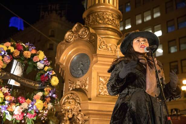 Dressed in period wear, Mayor London Breed speaks at the 1906 Earthquake and Fire Remembrance at Lotta's Fountain in San Francisco, California on April 18, 2019.
