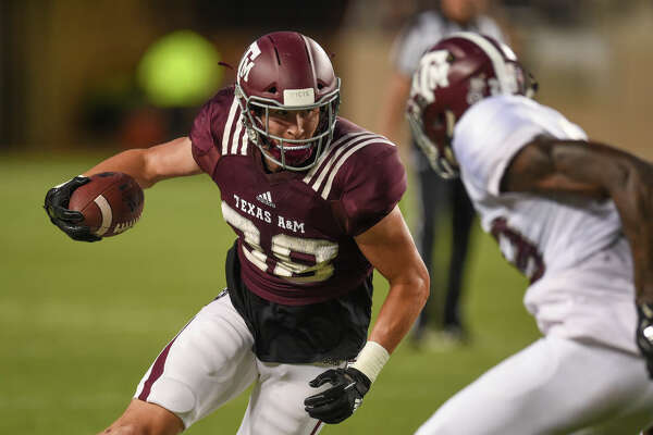 COLLEGE STATION, TX - APRIL 12: Tight end Baylor Cupp (88) runs the ball during the Texas A&M Maroon and White Spring Game on April 12, 2019 at Kyle Field in College Station, TX. (Photo by Daniel Dunn/Icon Sportswire via Getty Images)