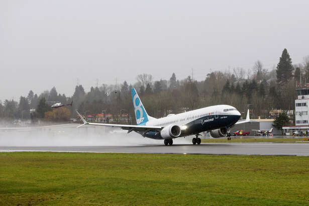 The Boeing Co. Max 737 jet takes off from Renton Municipal Airport in Renton, Wash., on Jan. 29, 2016.