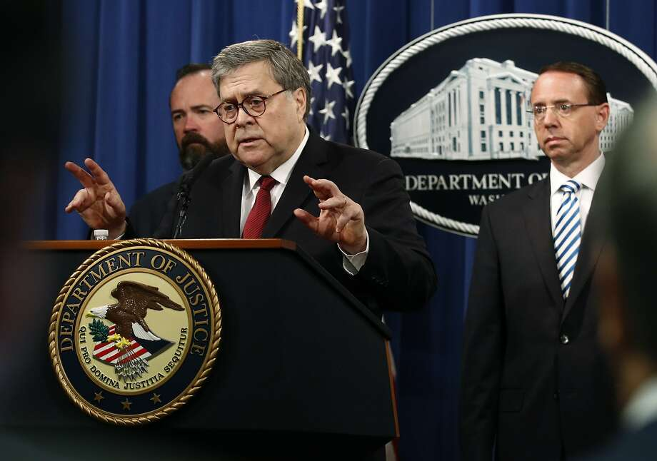 Attorney General William Barr speaks alongside Deputy Attorney General Rod Rosenstein, right, and acting Principal Associate Deputy Attorney General Edward O'Callaghan, left, about the release of a redacted version of special counsel Robert Mueller's report during a news conference, Thursday, April 18, 2019, at the Department of Justice in Washington. (AP Photo/Patrick Semansky) Photo: Patrick Semansky, Associated Press