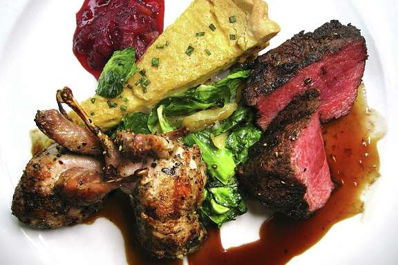 Axis venison with Lockhart quail, a goat cheese tart, chestnuts, Brussels leaves and berry apple chutney is a recurring standard at Biga on the Banks.
