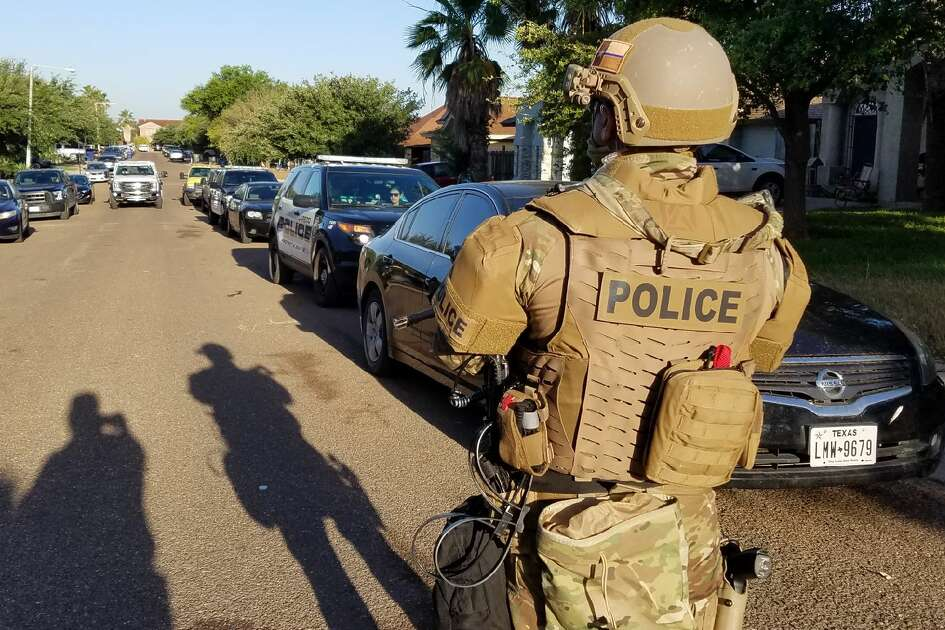 Law enforcement is shown in the 3200 block of St. Kathryn Loop on Thursday, April 18, 2019.