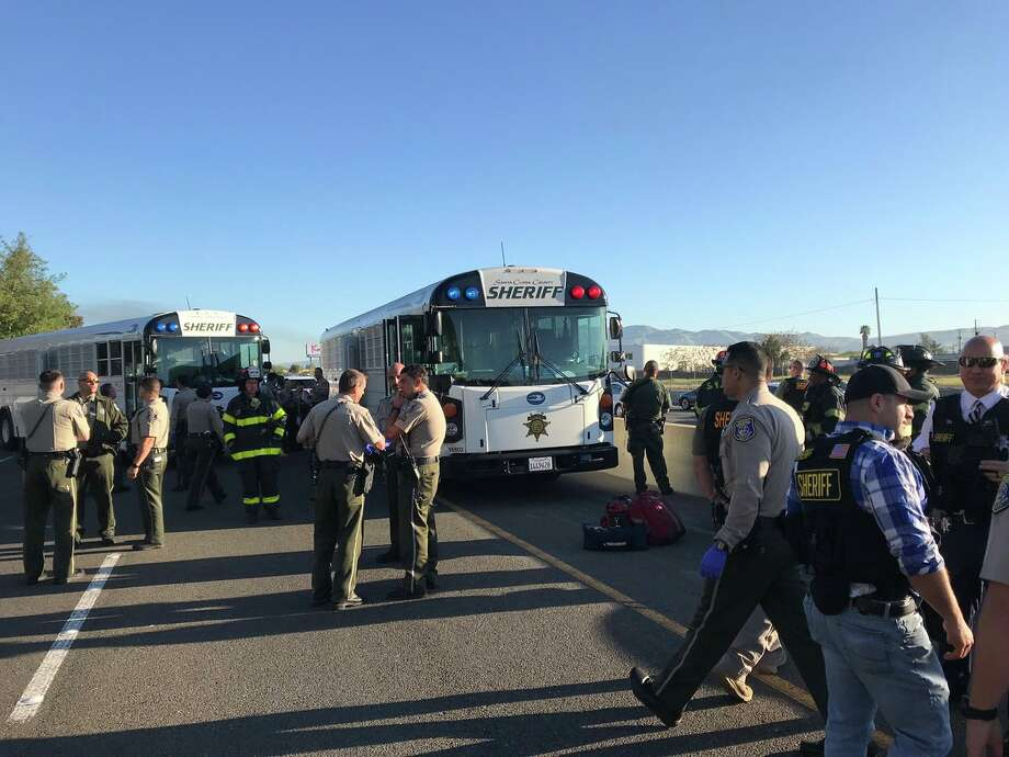 A prison bus was involved in a multi-car collision on southbound I-880 near  Brokaw Road on Thursday morning, April 18, 2019, that blocked all lanes of the freeway near Highway 101 in San Jose. Photo: Santa Clara County Sheriff 
