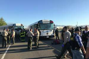 A prison bus was involved in a multi-car collision on southbound I-880 near  Brokaw Road on Thursday morning, April 18, 2019, that blocked all lanes of the freeway near Highway 101 in San Jose.