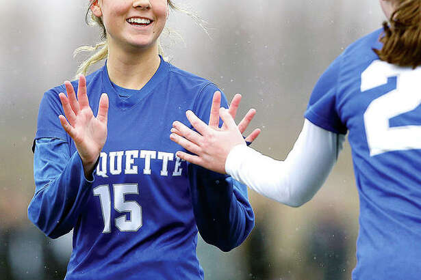 Marquette's Kaya Thies (15) scored two goals in her team's 3-1 victory over Freeburg Wednesday at Lewis and Clark Community College's Tim Rooney Stadium. She is shown in the 2018 Parkway Showcase.