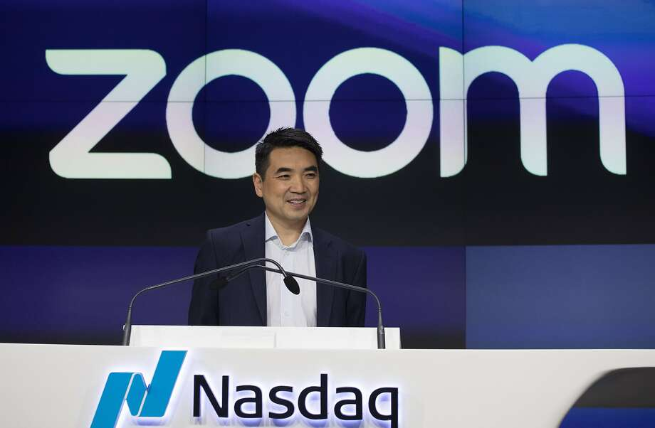 Zoom CEO Eric Yuan attends the opening bell at Nasdaq as his company holds its IPO, Thursday, April 18, 2019, in New York. The videoconferencing company is headquartered in San Jose, California. (AP Photo/Mark Lennihan) Photo: Mark Lennihan / Associated Press