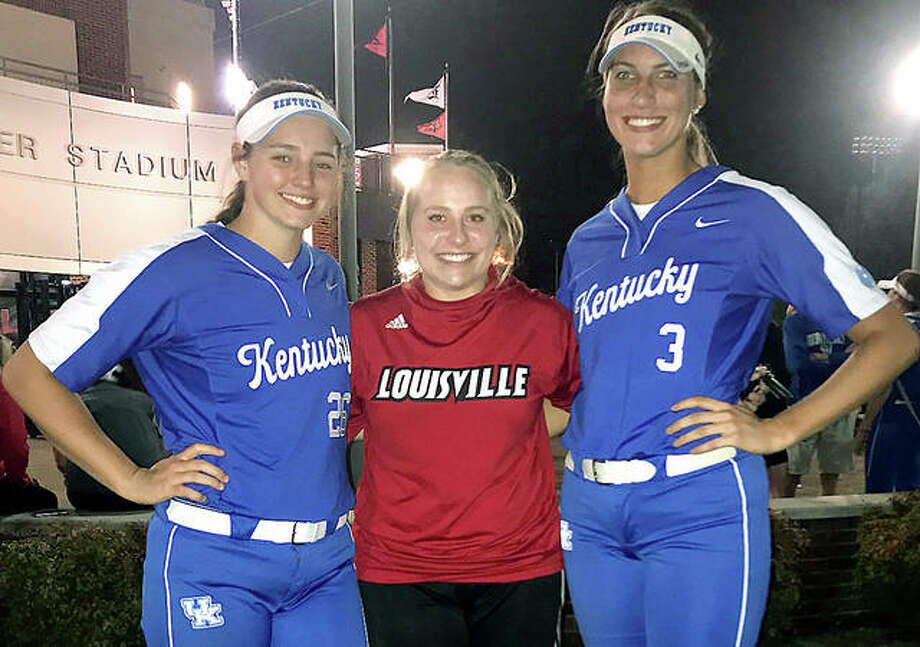 Three of Illinois' best prep softball pitchers ever got together Wednesday night a Ulmer Stadium at the University of Louisville. From left, former Marquette Catholic standouts Meghan Schorman and Alexis Silkwood, as well as former Calhoun ace Grace Baalman. Silkwood is a coach for the University of Louisville, while Schorman and Baalman and teammates at Kentucky.