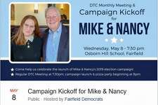 A Fairfield Democrats Facebook post announced a May 8 campaign kickoff for First Selectman Mike Tetreau, who is seeking a third term, and Nancy Lefkowitz, who is seeking a Selectman seat.