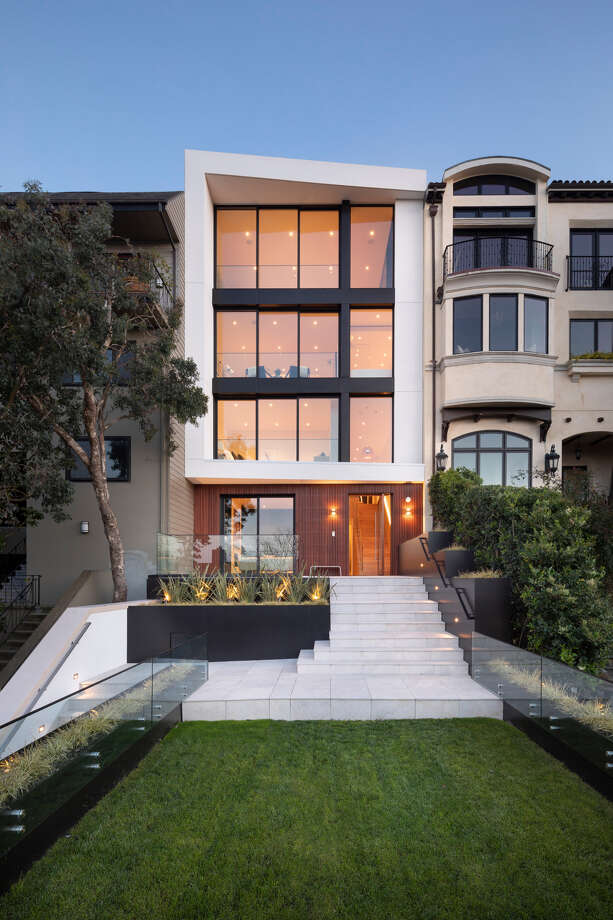 In Pacific Heights, 2833 Vallejo Street sold for $17M. The five-level property features four bedrooms and 6.5 bathrooms, four-car parking and a roof deck. Photo: Jacob Elliott Photography