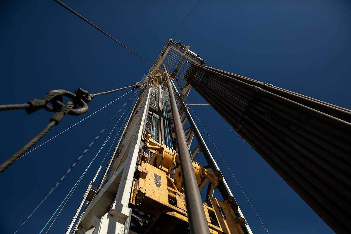 An oil drilling rig on a Parsley Energy facility near Midland, Texas, on Jan. 24, 2019.