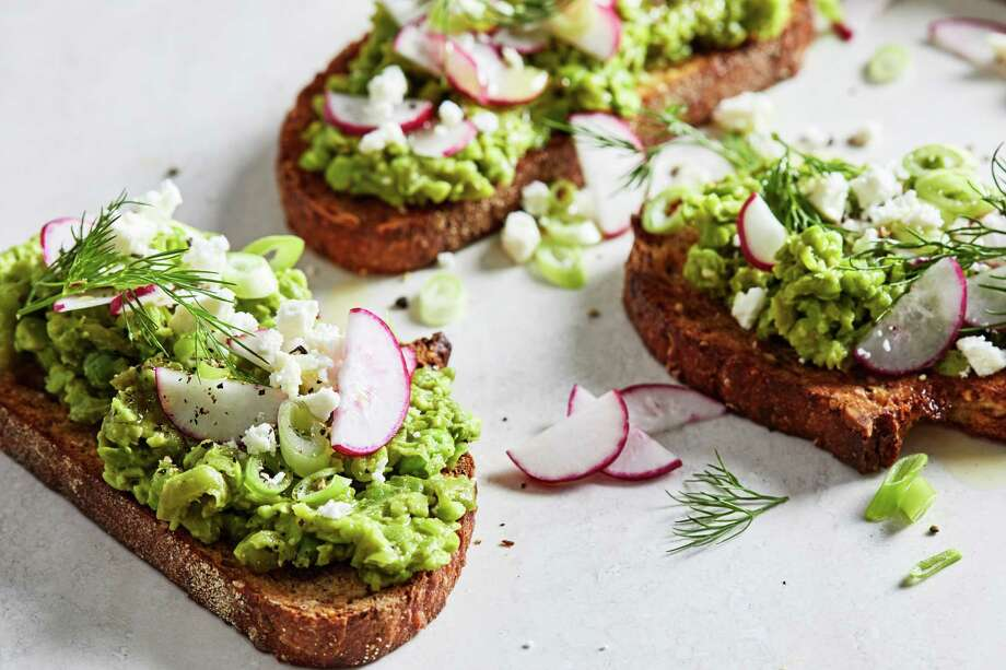 Sweet Pea Toasts With Feta. Photo: Photo By Stacy Zarin Goldberg For The Washington Post. / The Washington Post