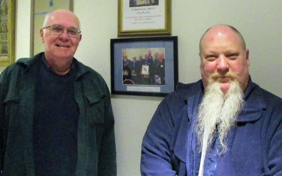 Past Master Phillip Birkett and Past Master and current Chaplain Mark Dzurnak. Photo: Jo Ann Jaacks / For Hearst Media CT