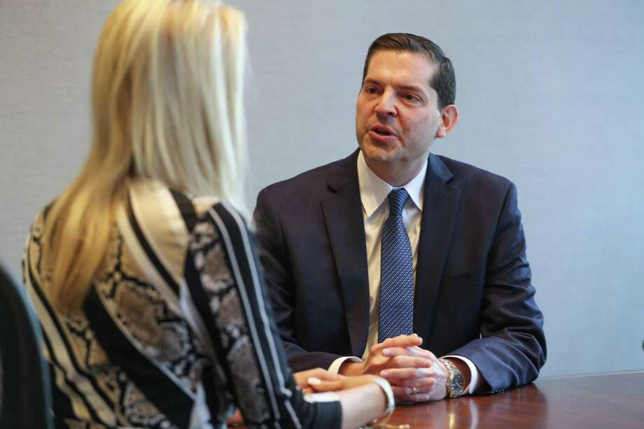 Andrew C. Gratz, Associate General Counsel, LyondellBasell talks to Aimee Cade Tuesday, March 26, 2019, in Houston. Photo: Steve Gonzales, Houston Chronicle / Staff Photographer / © 2019 Houston Chronicle