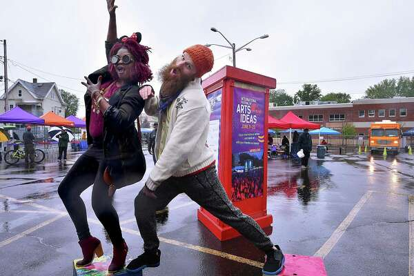 New Haven songstress Thabisha Rich and Damian Paglia dance to the music of Manny James and the Soulclectics, Saturday, May 19, 2018, at Hillfest, a one-day neighborhood festival at Cornell Scott Hill Health Center in the Hill section of New Haven. Hillfest is a collaborative effort between the International Festival of Arts & Ideas, Cornell Scott Hill Health Center and New Haven Bike Month.