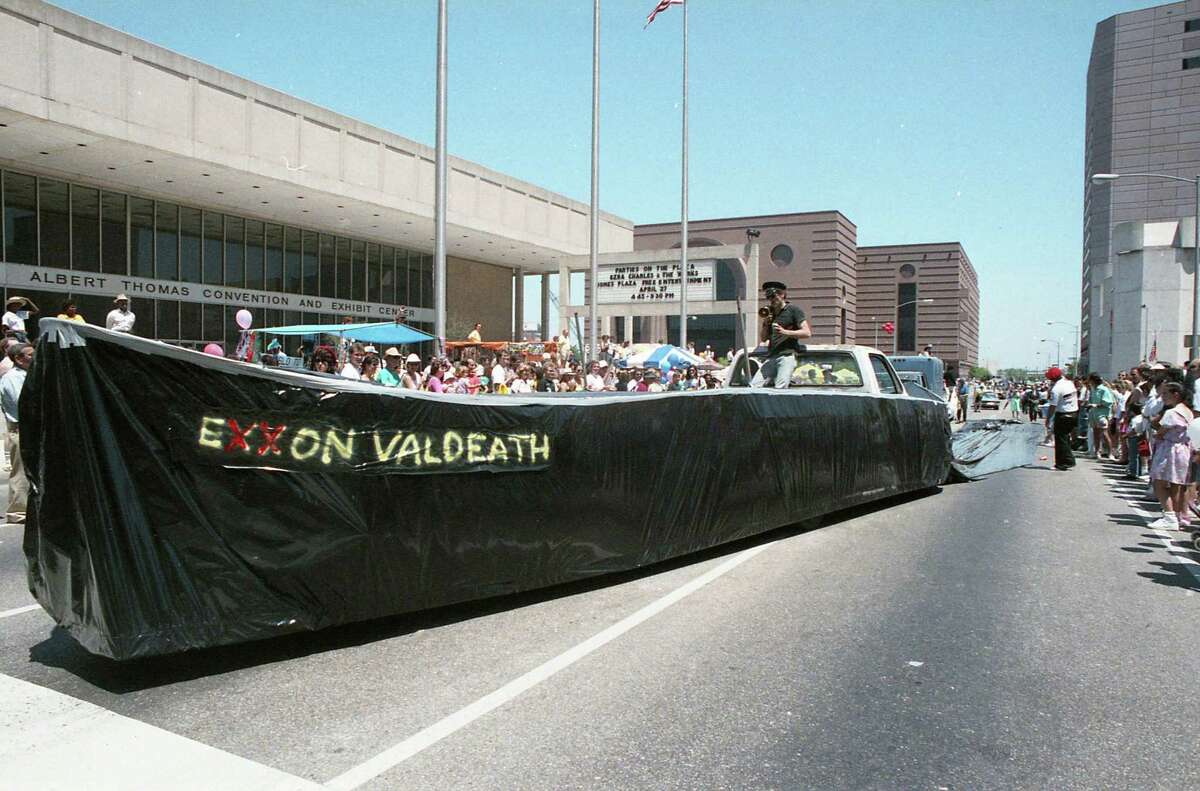 Vehicles and participants in the second annual art car parade during the Houston International Festival, April 22, 1989.