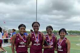 The Silsbee Lady Tigers 800-meter relay team finished in third at the 4A track and field area championship meet on Wednesday.