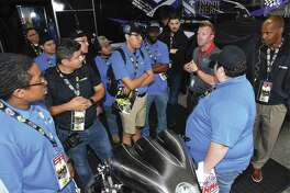 During the National Hot Rod Association's SpringNationals at Houston Raceway last week, technical students from Lone Star College Harris-North and San Jacinto College in Pasadena who are in the Mopar Career Automotive Program got the insider's perspective from drivers and crew chiefs on what it takes to field competitive race cars on the national level. (Photo courtesy of Mopar)
