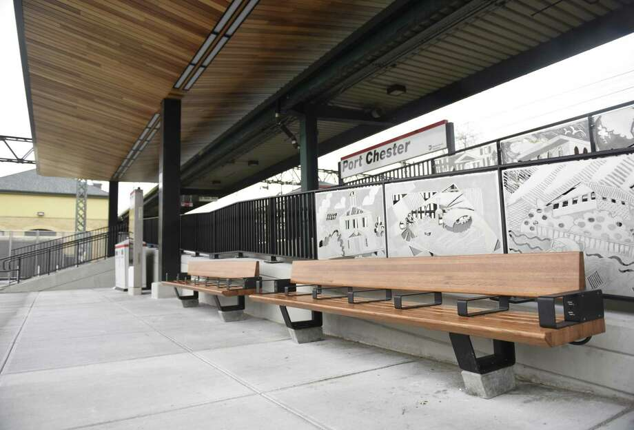 The newly-renovated Port Chester Metro-North station in Port Chester, N.Y., photographed on Thursday, April 18, 2019. The renovations include a fresh paved parking lot, new entrance signage and LED lighting, as well as a new canopy and plaza with free wi-fi. The Port Chester station serves many western Greenwich residents and was renovated as part of the Metro-North Enhanced Stations Initiative. Photo: Tyler Sizemore / Hearst Connecticut Media / Greenwich Time