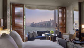 A harbor view room in Rosewood Hotels' new flagship property in Hong Kong.