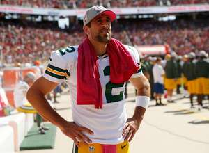 SANTA CLARA, CA - OCTOBER 04:  Quarterback Aaron Rodgers #12 of the Green Bay Packers looks on from the sidelines during their NFL game against the San Francisco 49ers at Levi's Stadium on October 4, 2015 in Santa Clara, California.  (Photo by Ezra Shaw/Getty Images)