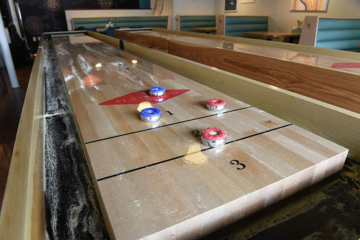 Shuffleboards in Flatbread Social on Thursday, April 11, 2019 in Saratoga Springs, N.Y. (Lori Van Buren/Times Union)
